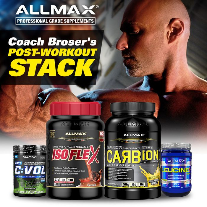 #TeamALLMAX coach Eric Broser has been one of the world's top contest prep coaches with over 20 years in the business.  Post-Workout #ALLMAXStack protocol:  1) Immediately after Training = 1 scoop #CVOL and 5 grams #Leucine+ 2) 30 minutes after Training = 2 scoops #ISOFLEX and 1 scoop #Carbion+ mixed in water. After drinking, he will also have 50 or more grams of carbohydrates from a food source.