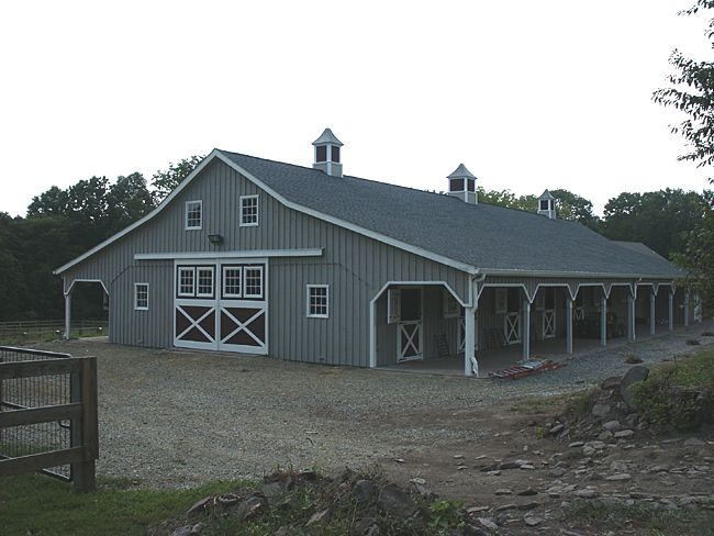 40x108 Horse Stable Built With Overhangs 12x13 Stalls