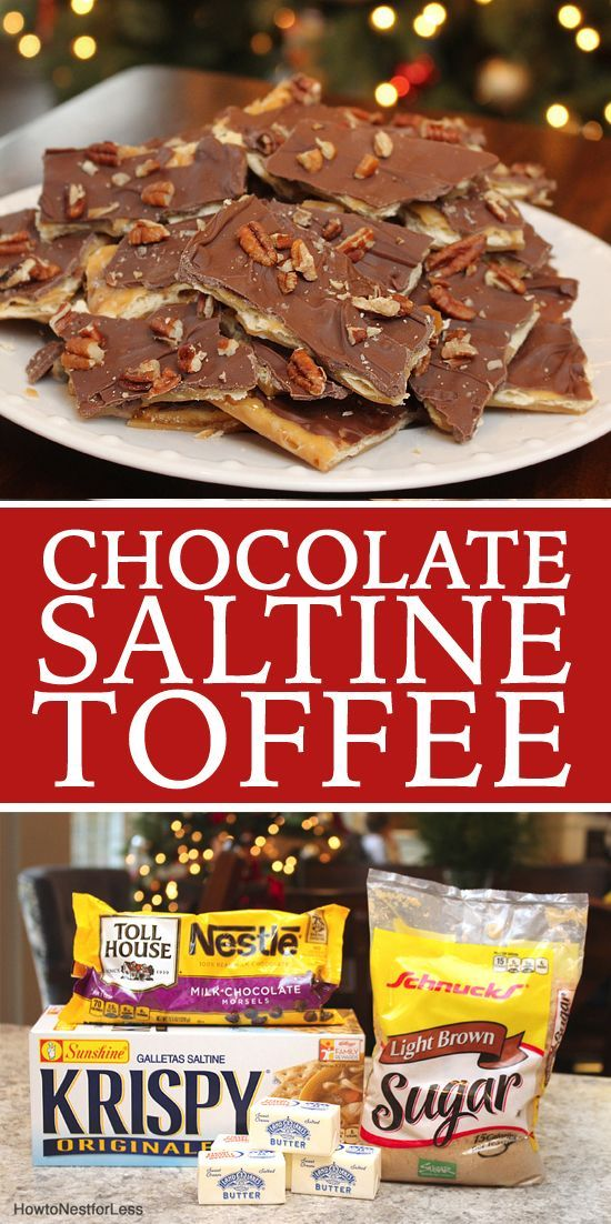 Homemade saltine chocolate toffee. The one thing I request my mom to make every Christmas!! SO GOOD.