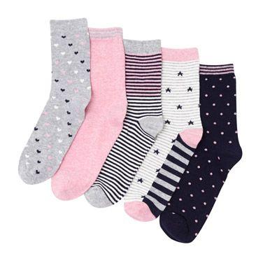 pink-stripe Design Socks - Pack Of 5