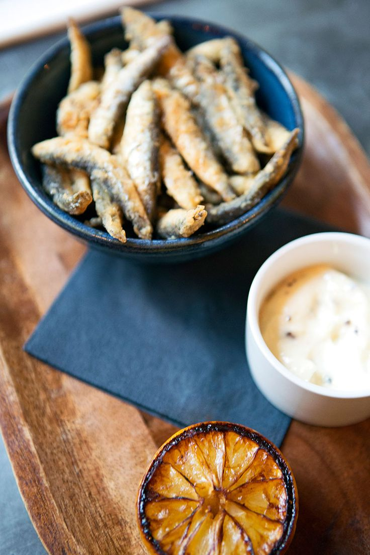 Pot fish (fried whitebait), smoked sea salt, cacao aioli at Rabot 1745. The photographer - Hannah Fawkes