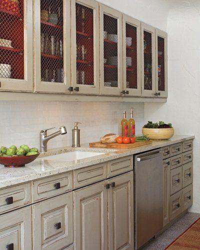 chicken wire cabinets and paint the inside
