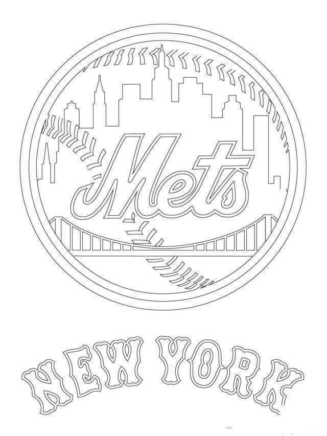 Major League Baseball Mlb Coloring Pages Free Coloring Sheets Baseball Coloring Pages New York Mets Logo Detailed Coloring Pages