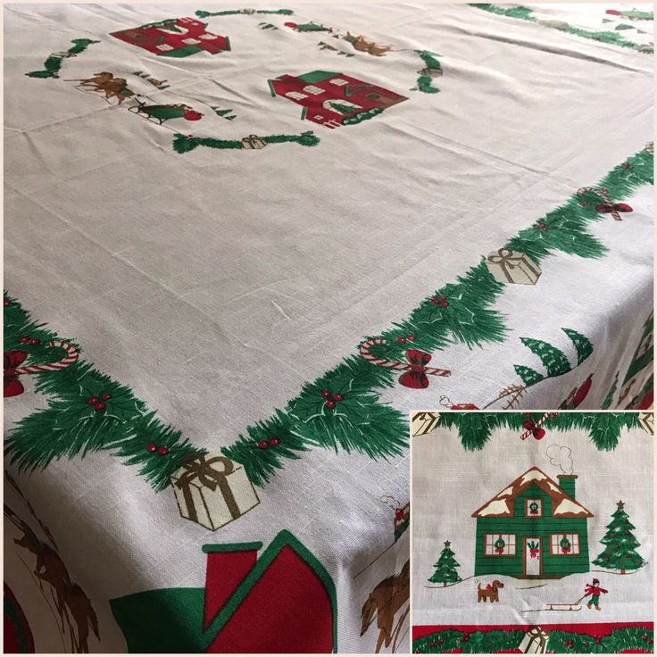 Vintage Christmas Tablecloth Evergreens Sleighs Horses Holiday Tablecloth  56 By 56 Inches Square Holiday Decor