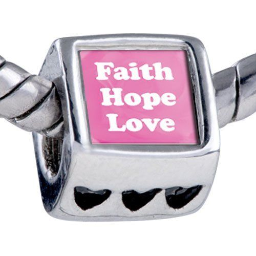 Pugster Bead Pink Faith Hope Love Beads Fits Pandora Bracelet Pugster. $12.49. Fit Pandora, Biagi, and Chamilia Charm Bead Bracelets. It's the photo on the heart charm. Hole size is approximately 4.8 to 5mm. Bracelet sold separately. Unthreaded European story bracelet design