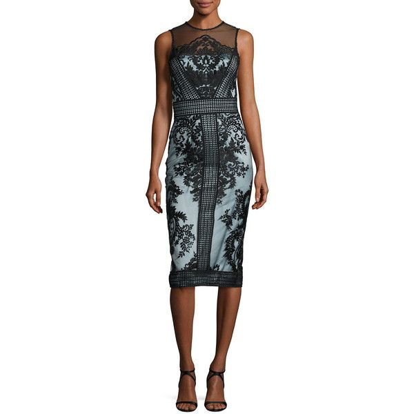 Theia Sleeveless Two-Tone Illusion Embroidered Lace Cocktail Dress ($595) ❤ liked on Polyvore featuring dresses, black powder blue, strapless dress, lace dress, strapless cocktail dresses, sheath dresses and strapless lace dress