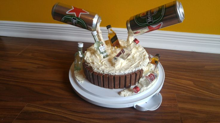 Anti gravity beer and alcohol cake