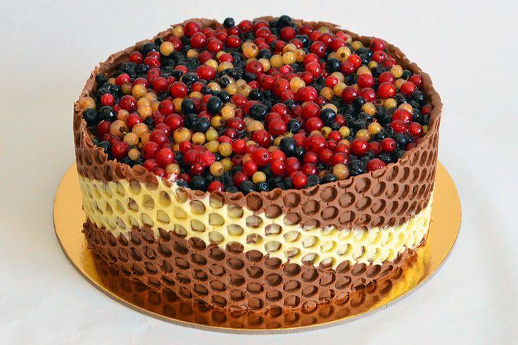 Cocoa cake with chocolate and forest fruits cream: www.cuptorulluirobert.ro