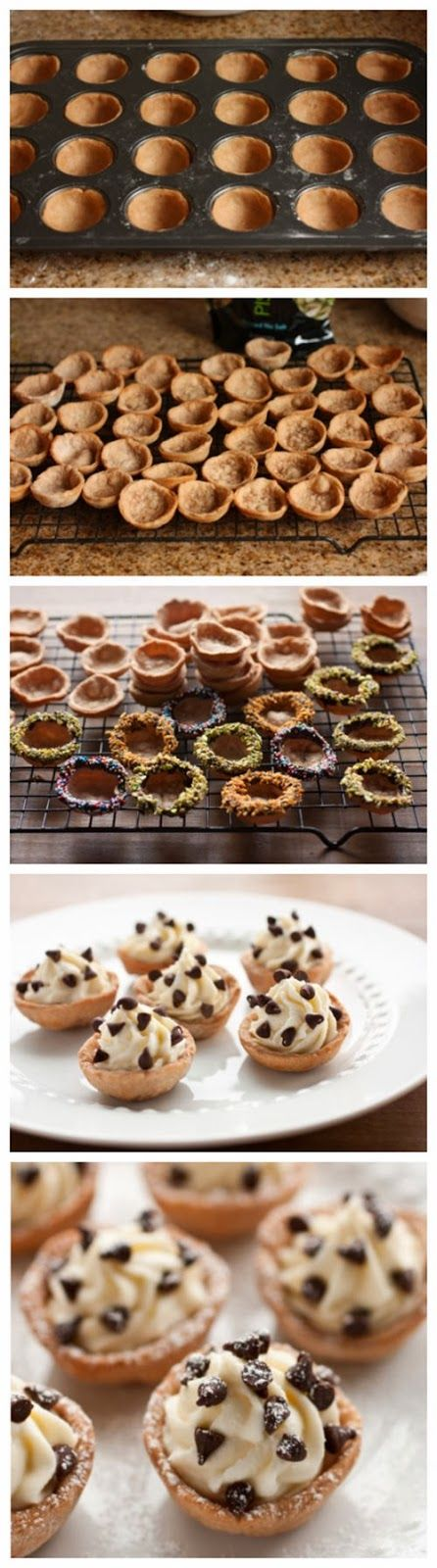 Cannoli Bites Ingredients: Cannoli cups: 2 cups all-purpose flour, plus more for dusting work surface 2 1/2 Tbsp granulated sugar 1 tsp cocoa powder 1/2 tsp cinnamon 1 pinch nutmeg (optional) 1/2 t...