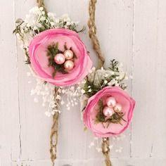 Tieback crochet twine bébé rose satin fleur d'étoiles , newborn ,nouveau-né