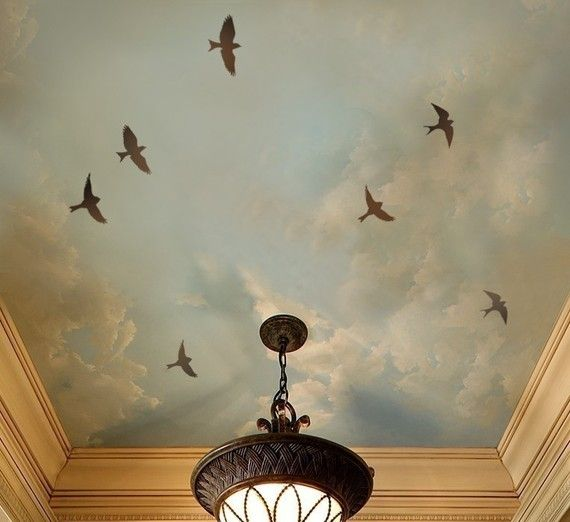 bird stencils & faux cloud ceiling...wouldn't this be perfect to fall asleep looking at and waking too~~