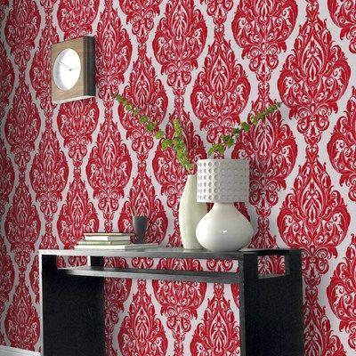 Splendour Red Damask Wallpaper - Modern Wall Coverings by Graham & Brown