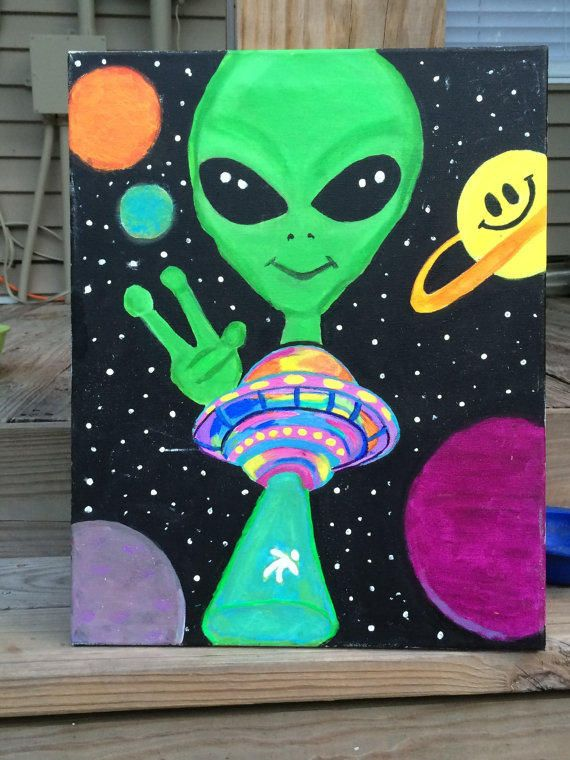 Alien UFO Painting - 16x20 Canvas from PsycadelicSam on Etsy. Saved to Things I…