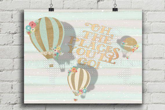 Oh de plaatsen waar je gaat afdrukken, citaat afdrukbare, luchtballon kwekerij, wereldkaart kwekerij, kwekerij Decor, Mint groen en goud reliëf