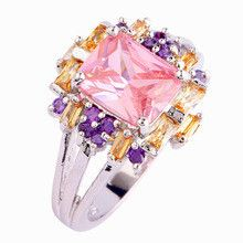 lingmei Noble Jewelry Pink Topaz Morganite Amethyst Silver Ring Size 10 Women Party Bijouterie Free Shipping Wholesale