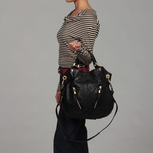 Oryany Gwen Black Leather Shoulder Bag 108