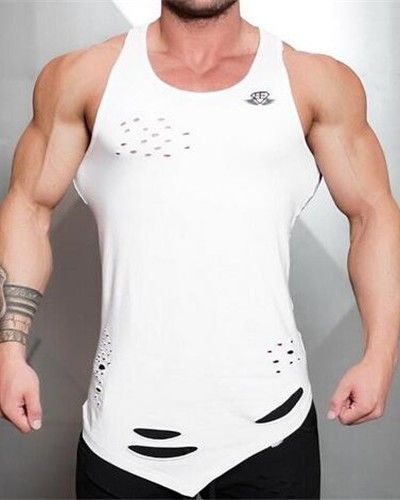 684453ed72e81 Ripped racerback tank tops with holes for men Asymmetric bodybuilding tank  tops