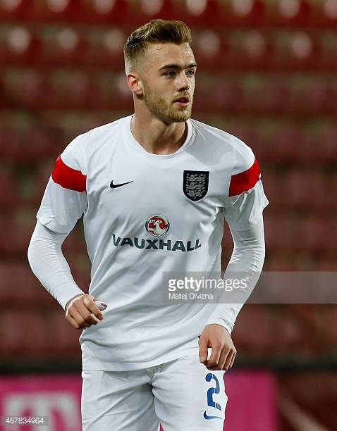 Calum Chambers of England warms up before the international friendly match between U21 Czech Republic and U21 England at Letna Stadium on March 27...