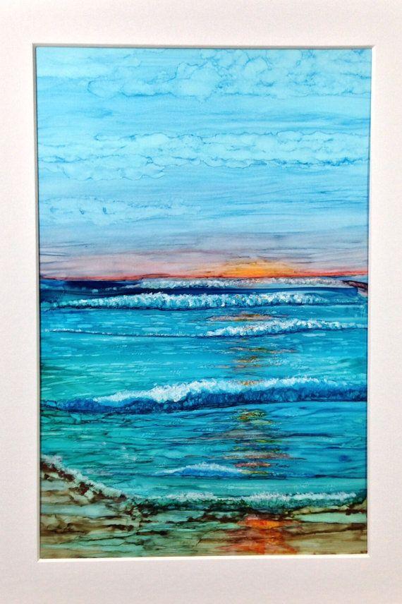 Alcohol ink art. Landscape.  Sunrise Beach. by KCsCornerGallery, $48.00