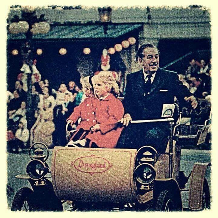 Walt and daughter at Disneyland