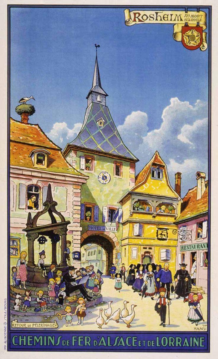 Beautiful Busy Village Scene in this Vintage Travel Poster: Alsace et de Lorraine, France