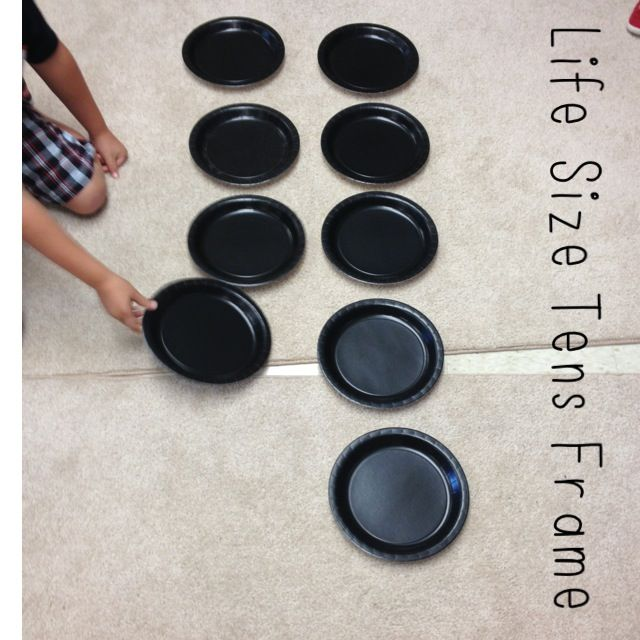 Use plates to make a giant tens frame. Would work great outside with a chalk frame (on non windy days)