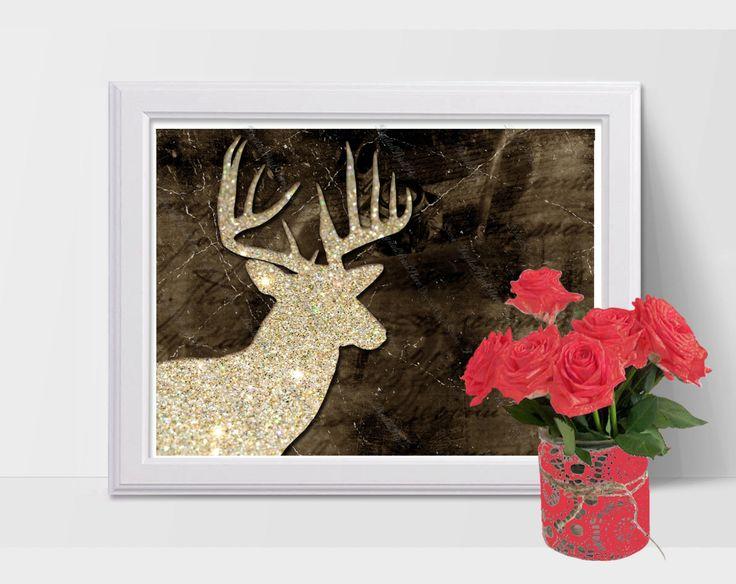 Nursery Silhouette Deer 01, Glitter Modern Art, Printable Wall Art, Comercial Use by DigitalPrintStore on Etsy