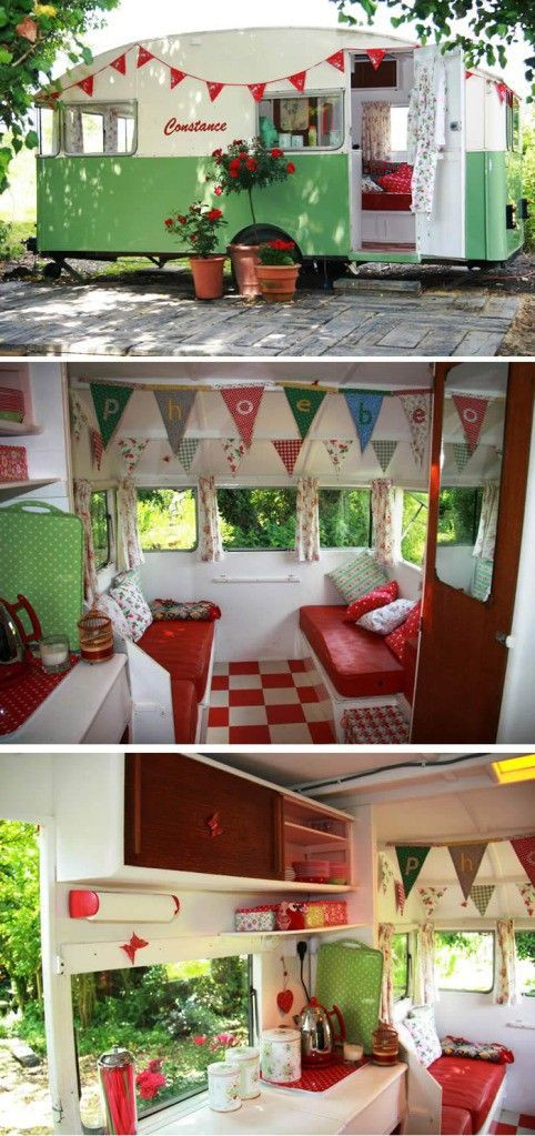 vintage camper; green & red retro style