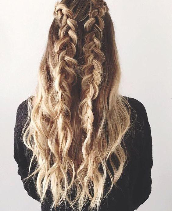 A natural summer ombré and loose braids- relaxed yet elegant. And her hair is gorgeous!