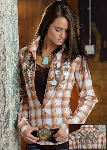 Love the plaid western shirt with belt. Would be cute with a chocolate skirt and western boots. The necklace just sets off the outfit. Cute look for young ladies.