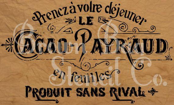 French Stencil Cacao Payraud 12x20 mylar by BrownBagStencilCo