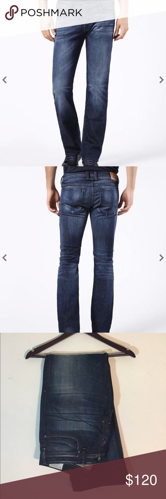"""Diesel Brand New Zatiny Dark Jeans Brand new Diesel dark wash jeans. High quality. Ordered online so there are no tags but these jeans have never been worn. Brand new.  Zatiny, the new straight leg.  Wash:008IW. Size:36""""x32"""". Diesel Jeans Straight"""
