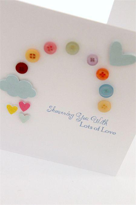 handmade baby shower card - rainbow
