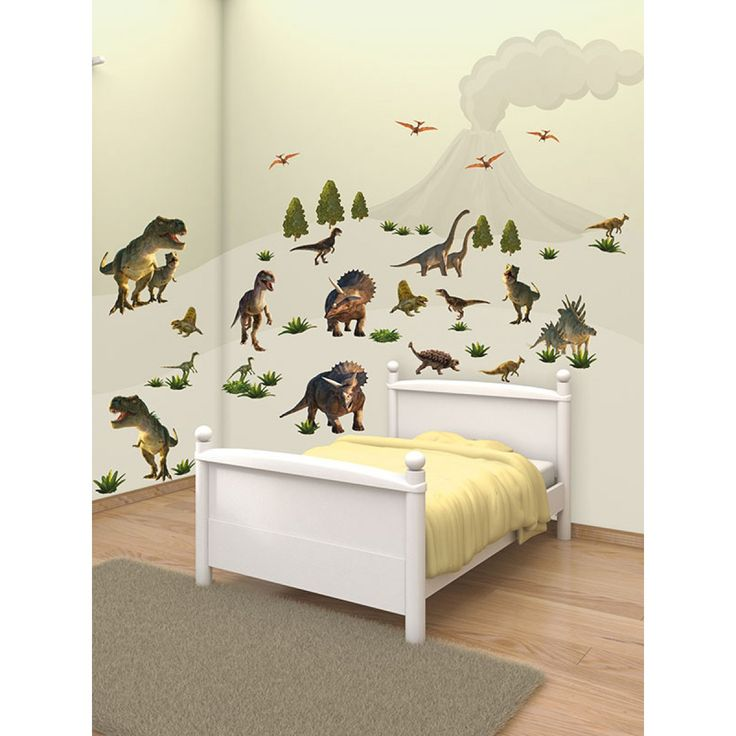 Create a dinosaur themed room in minutes Ideal for bedrooms, nurseries and playrooms Kit contains 51 stickers: