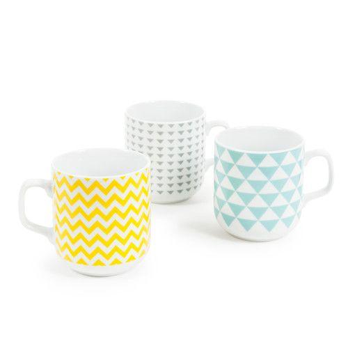 6 mugs en porcelaine multicolores COPENHAGEN