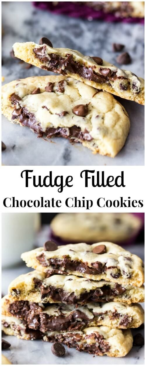 You've gotta try these fudge filled chocolate chip cookies! || Oh Sweet Basil
