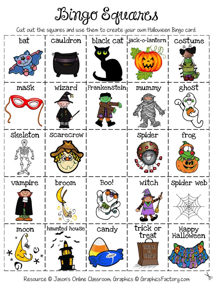 halloween create your own luck bingo game - Preschool Halloween Bingo