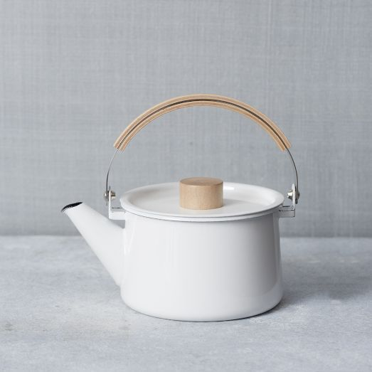 When designing for homeowners who love to entertain, provide West Elm's Scandinavian-inspired Enamel #Tea Pot as a finishing touch. This #teapot is designed to hold heat while also resisting odor absorption and bacteria accumulation. Easy to pour and stylish to set out as kitchen or living-room décor, West Elm's Enamel Tea Pot also serves as a stunning centerpiece.