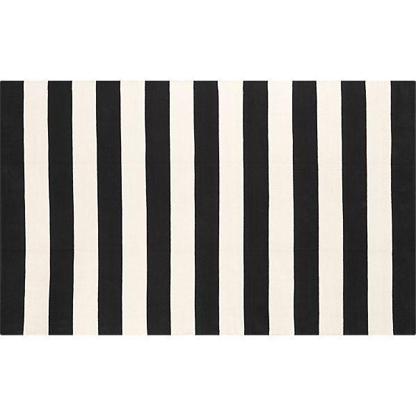 Olin Black Striped Cotton Dhurrie Rug Runners Dhurrie