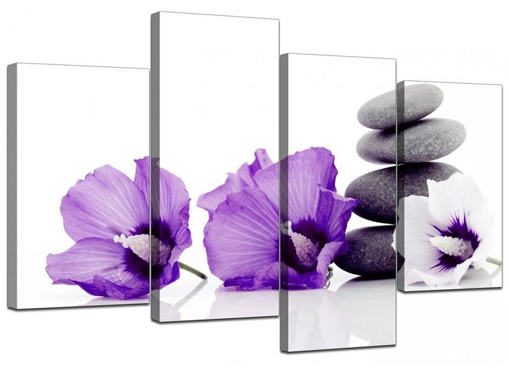 4 Piece Set of Extra-Large Purple Canvas Pictures