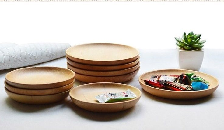 Home Kitchen Bar Wood Tableware Japanese Pure Solid Color Wooden Plate #Handmade