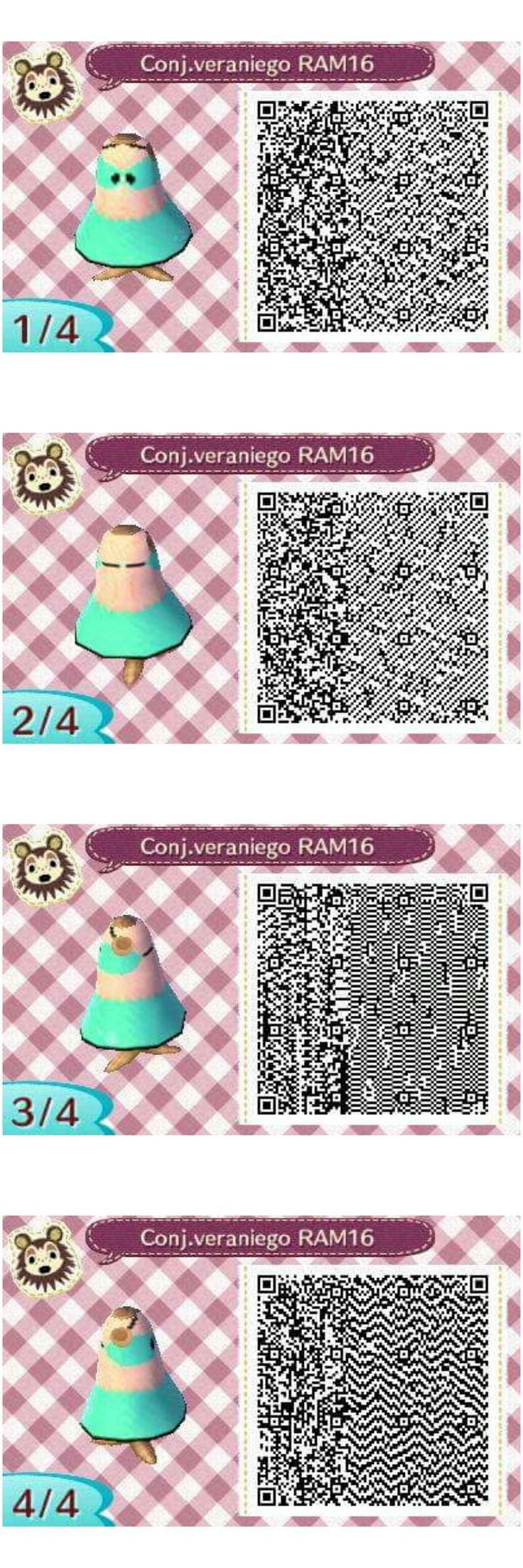 Este es un QR Code para Animal Crossing, creado por mí; como podéis observar, es un conjunto veraniego de color verde azulado. ¡Espero que os guste! ;)