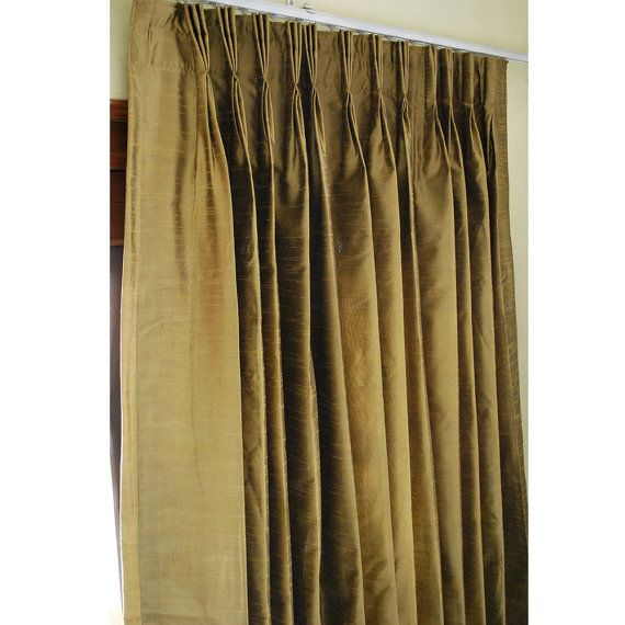 Pair of Earthy Green Silk Curtain Panels 26″x96″ Pinch Pleat Curtain Home And Living Bedroom Decor And Housewares Valance Window Treatment