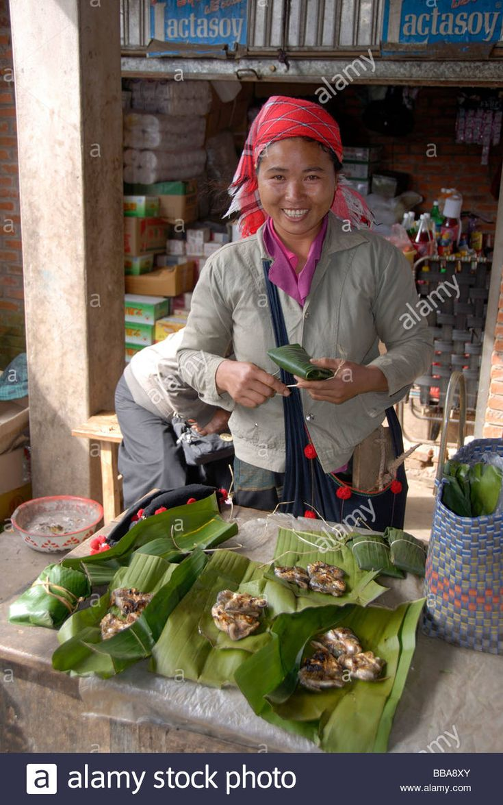 Market woman of the Phunoi ethnicity selling grilled fish in banana leaves, market in Phongsali, Laos, Southeast Asia Stock Photo