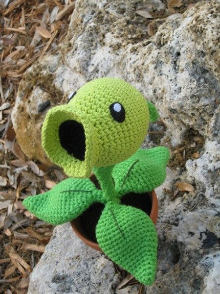Pea Shooting Plant PDF Amigurumi Crochet Pattern par GeekChicurumi