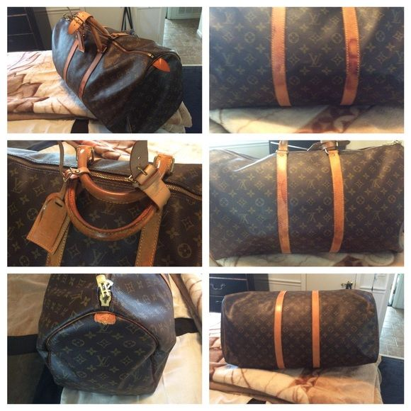 Authentic Louis Vuitton Keepall 45 Vintage Louis Vuitton Keepall. Great getaway bag.. It dos have watermarks on the bag. But the inside very clean. But it doesn't take away the beauty of the bag... Louis Vuitton Bags Travel Bags