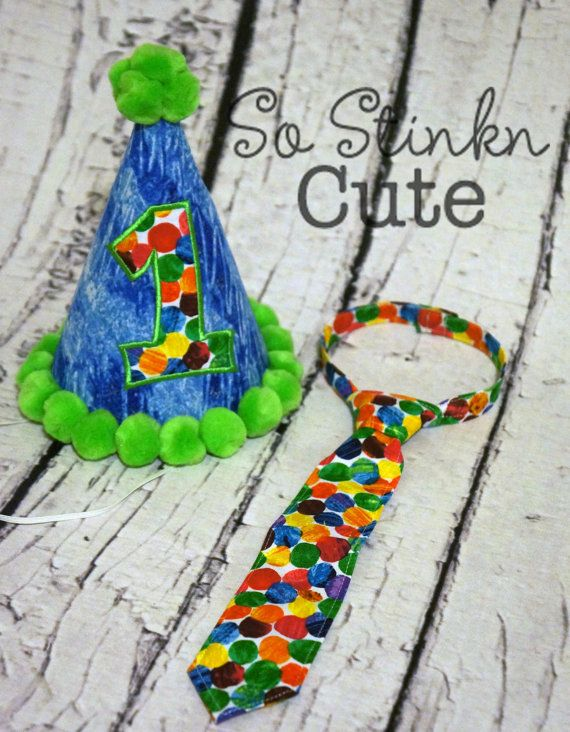 Custom Birthday Hat & Tie The Very Hungry Caterpillar Birthday Photo Prop on Etsy, $38.00