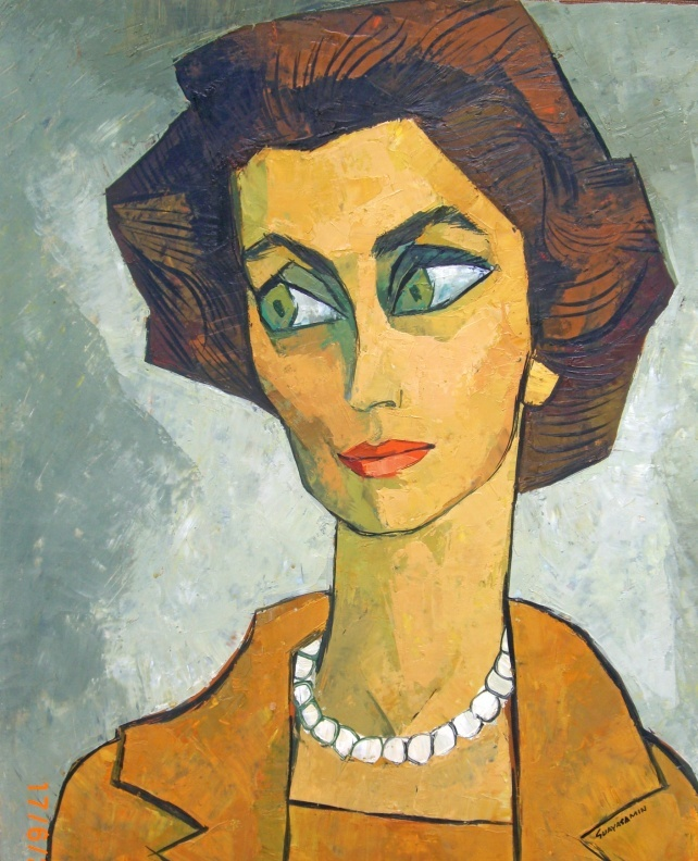 Subject unknown by Oswaldo Guayasamín. If you know who is the lady in this portrait and the year it was done please contact me to update info.