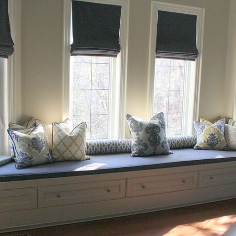 Amazing Stylish Master Bedroom Design And Decoration Idea Long White Bay Seats Windows With
