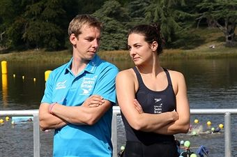 Keri Anne Payne and her husband David Carry during the British Gas SwimBritain event at Blenheim Palace on September 7, 2014 in Woodstock, England.